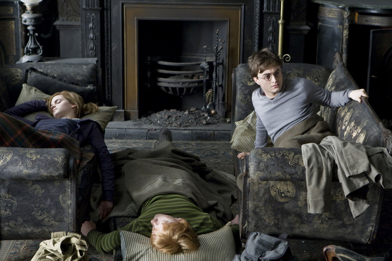 Harry, Ron and Hermione at Grimmauld Place