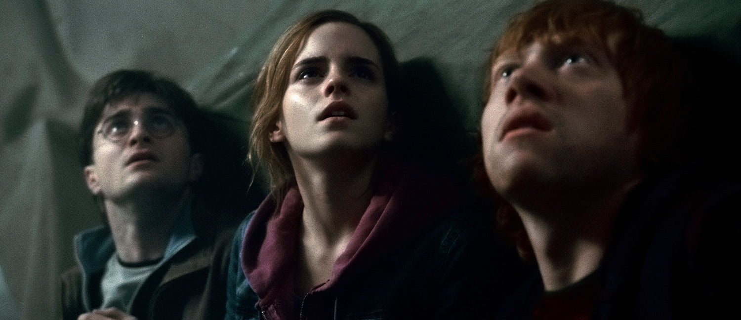Harry, Ron and Hermione looking upwards