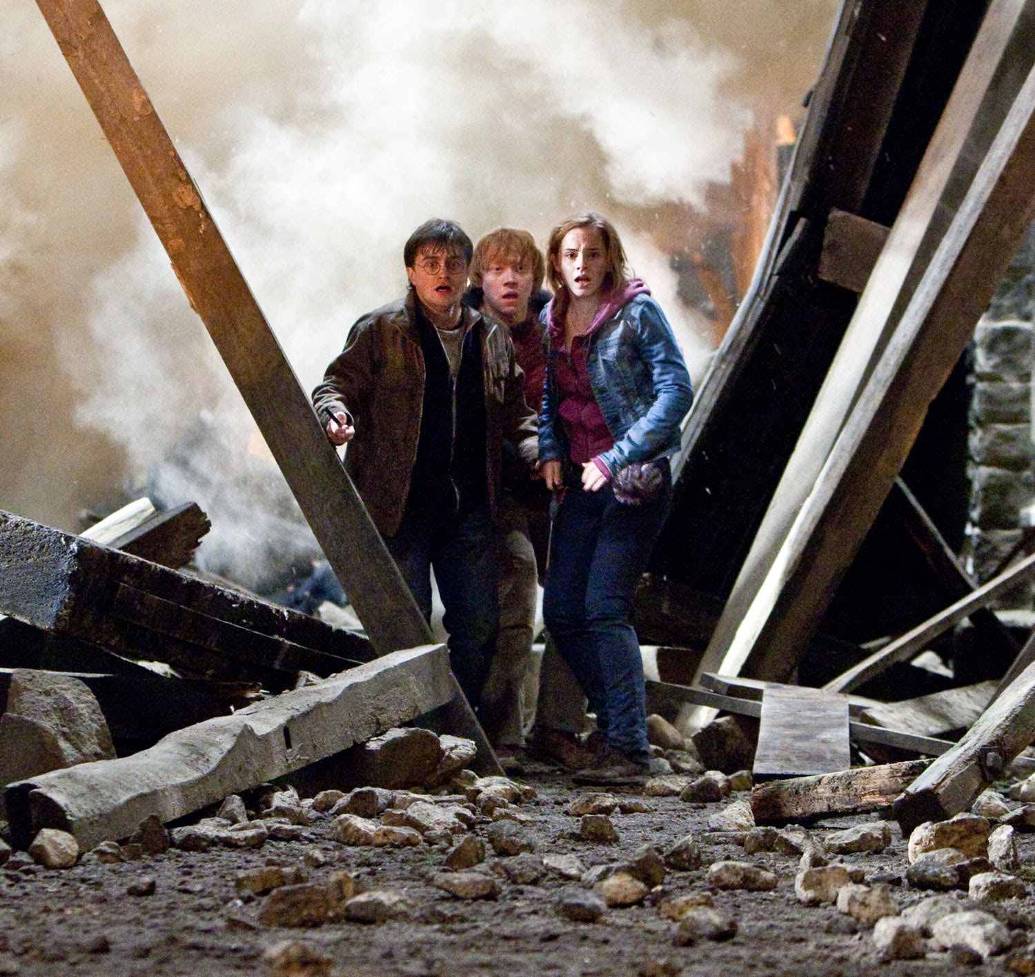 Harry, Ron and Hermione watch in horror