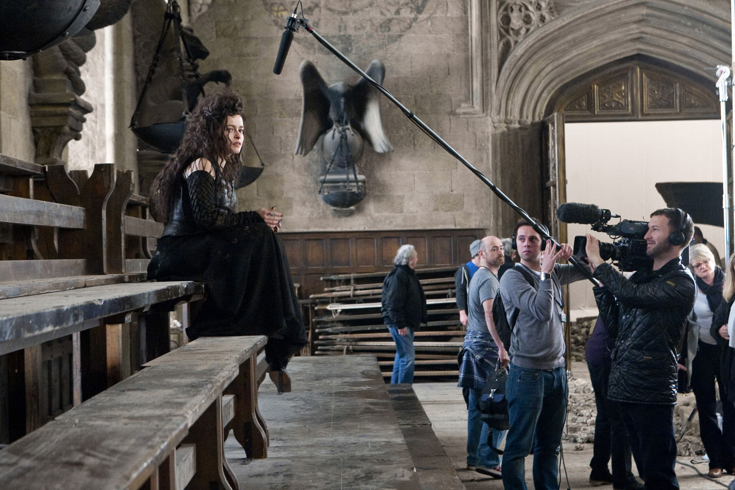 Helena Bonham Carter filming in the Great Hall