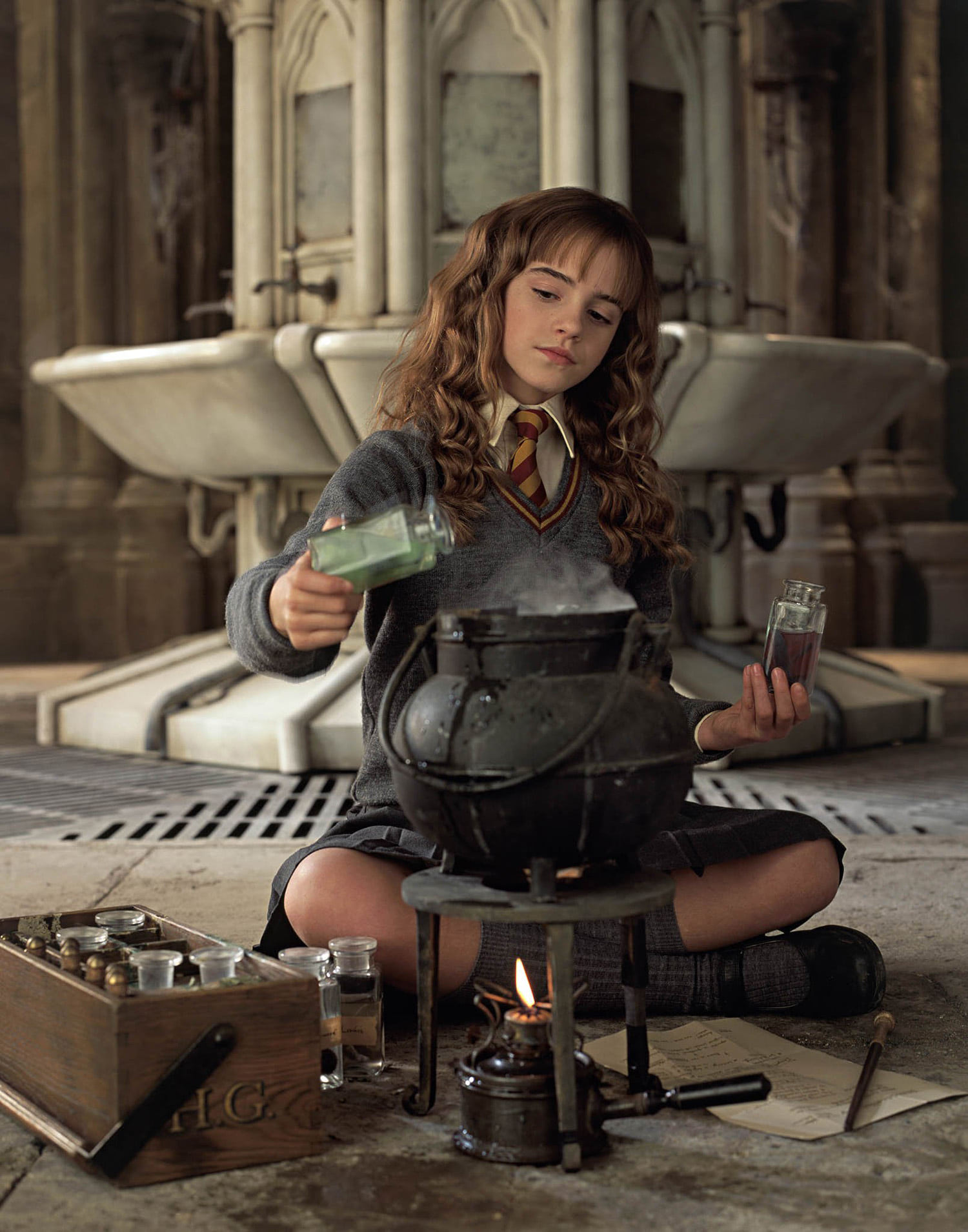 Hermione brews Polyjuice Potion