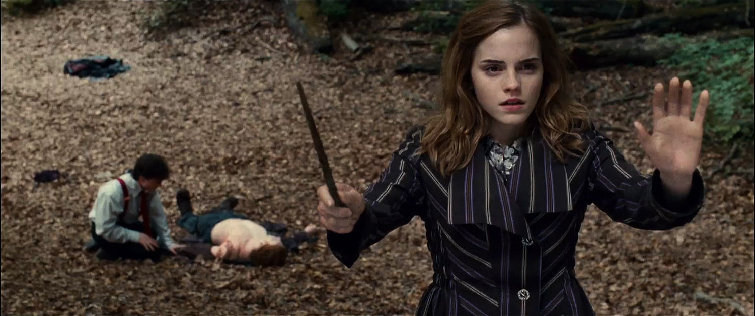 Hermione casts defensive spells