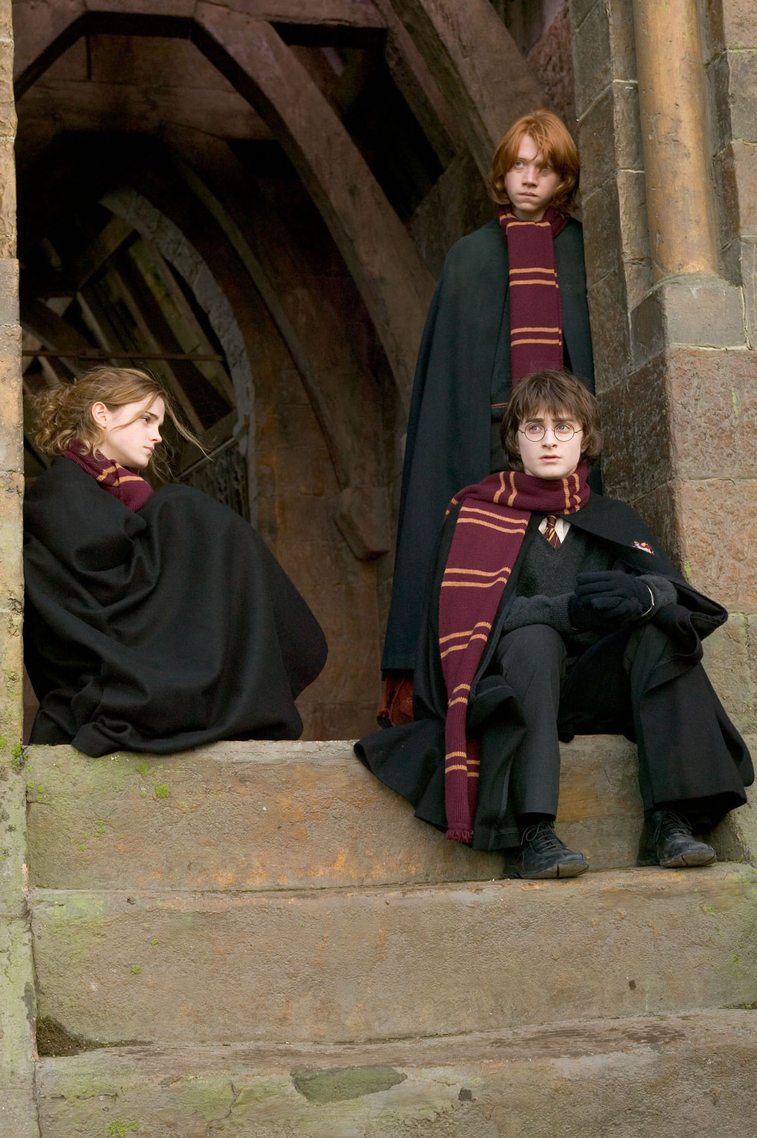 Hermione, Harry and Ron on the steps