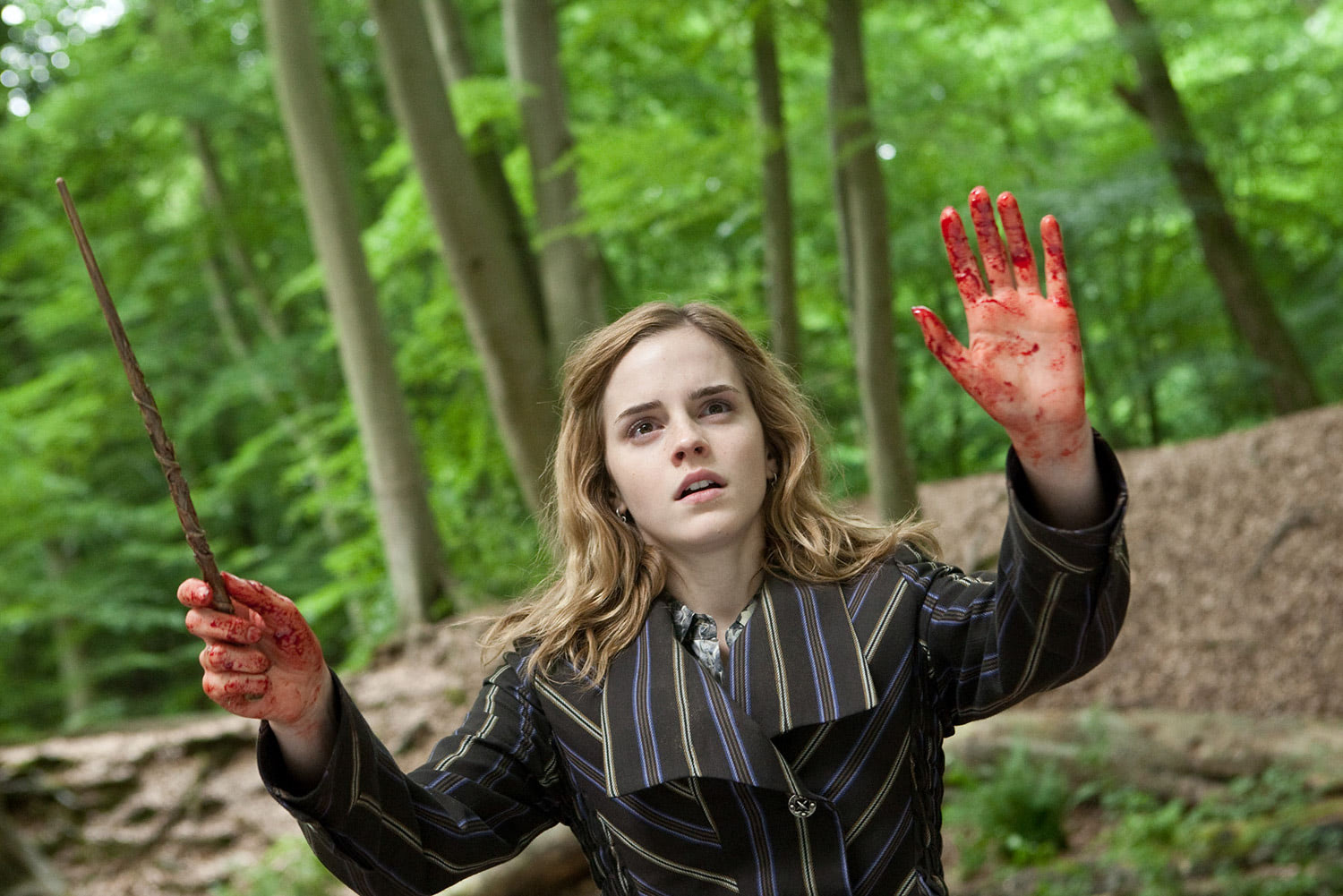 Hermione with bloodied hands