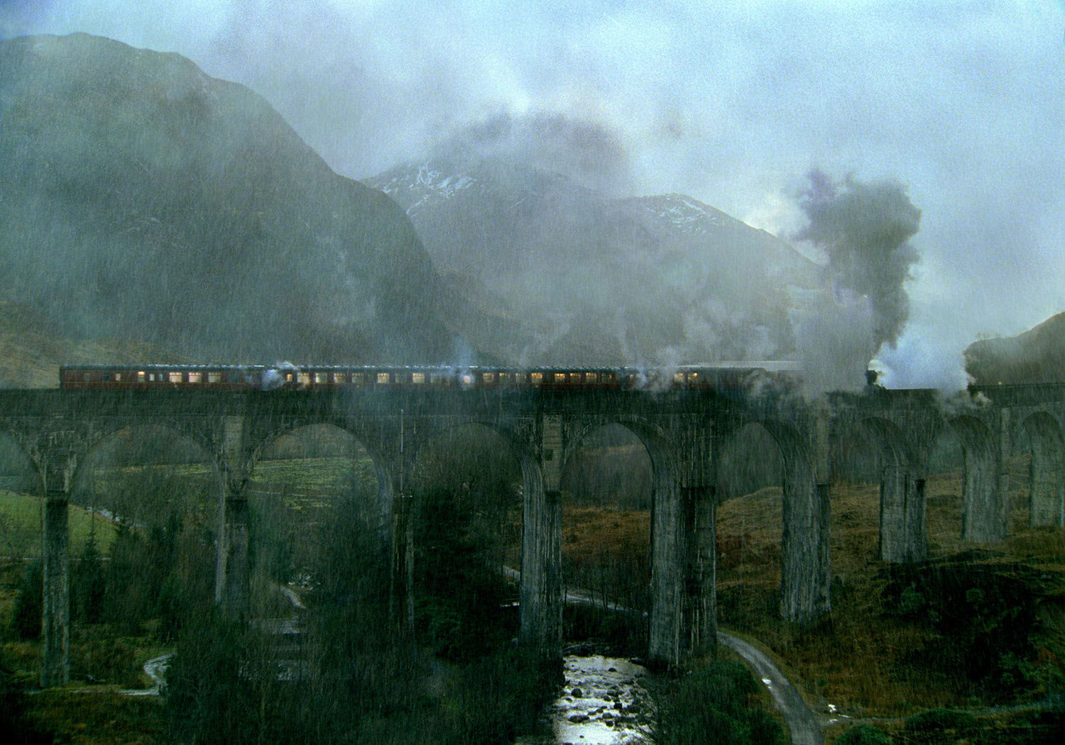Hogwarts Express stopped on a bridge