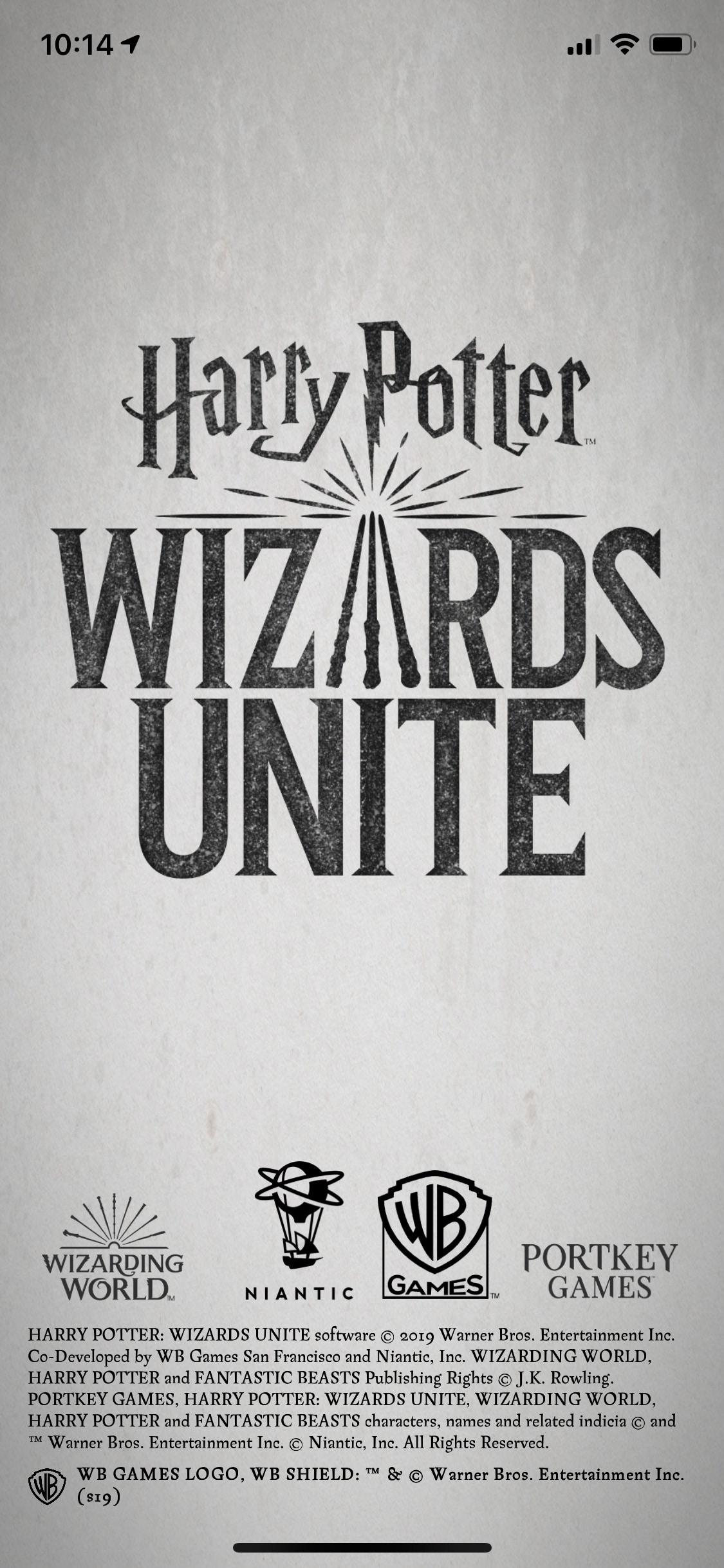 Intro screen (Wizards Unite)