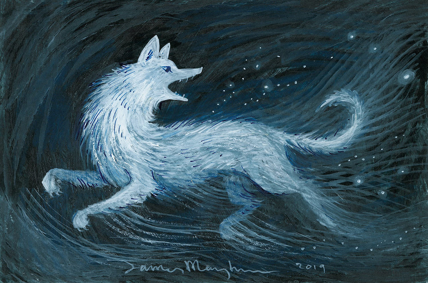 Husky (James Mayhew Patronus on a Postcard)