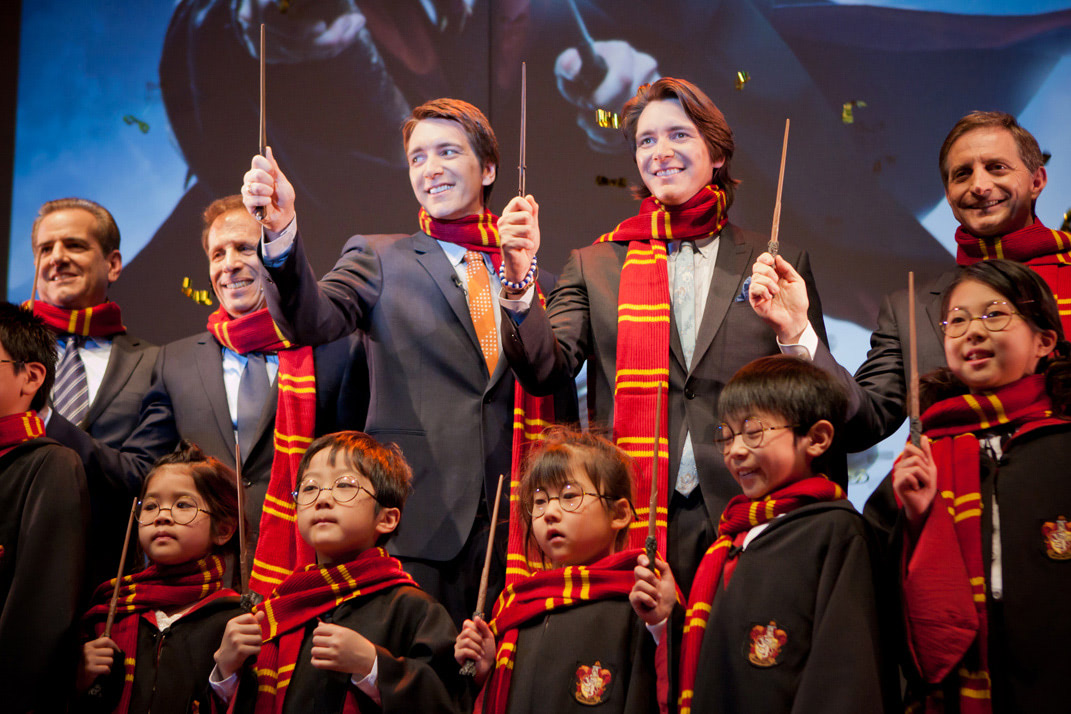 James and Oliver Phelps at the Japanese 'Harry Potter' theme park announcement
