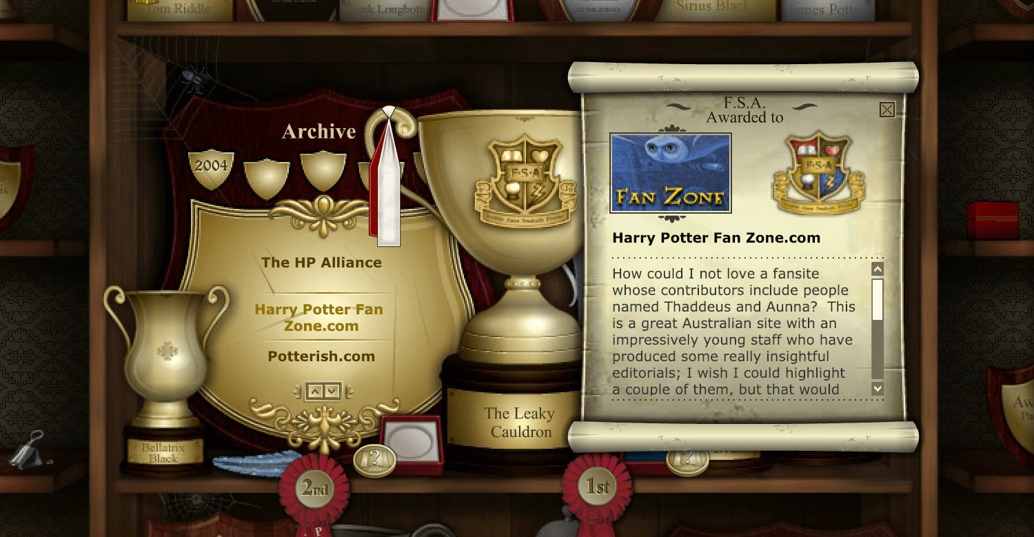 A screenshot of the 'Fan Site' section of J.K. Rowling's website.