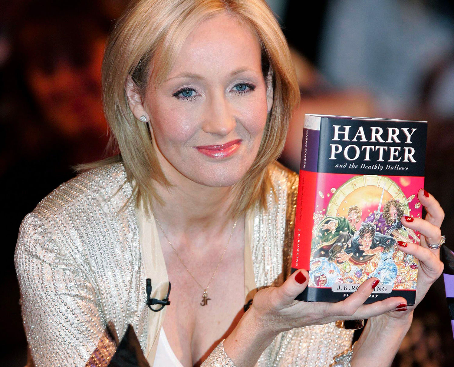 J.K. Rowling with 'Deathly Hallows'