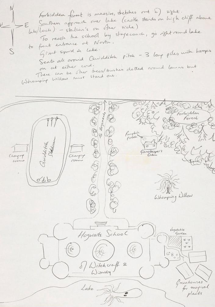 J.K. Rowling's original Hogwarts sketch #2