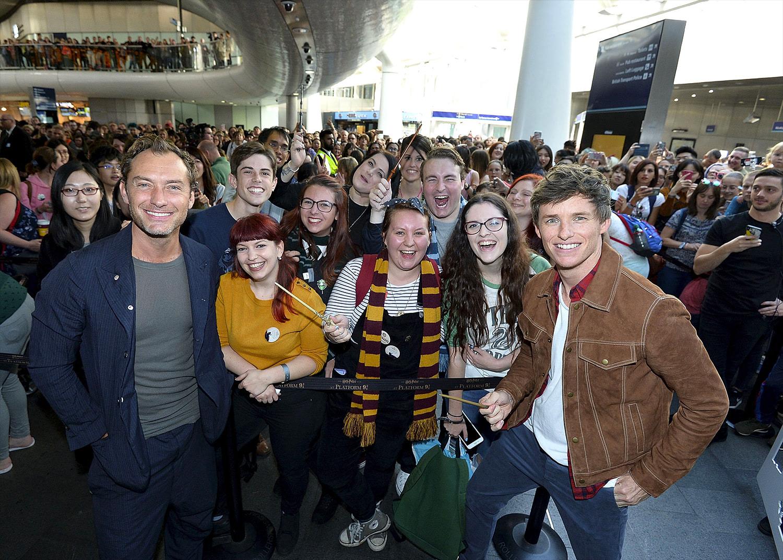 Jude Law and Eddie Redmayne at King's Cross