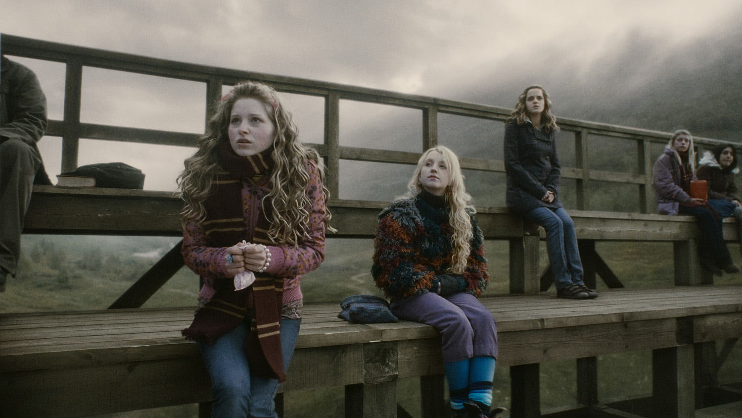 Lavender, Luna and Hermione watch Quidditch