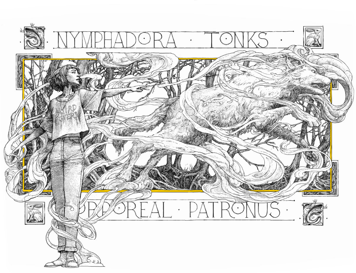 Nymphadora Tonks Patronus illustration (house editions)
