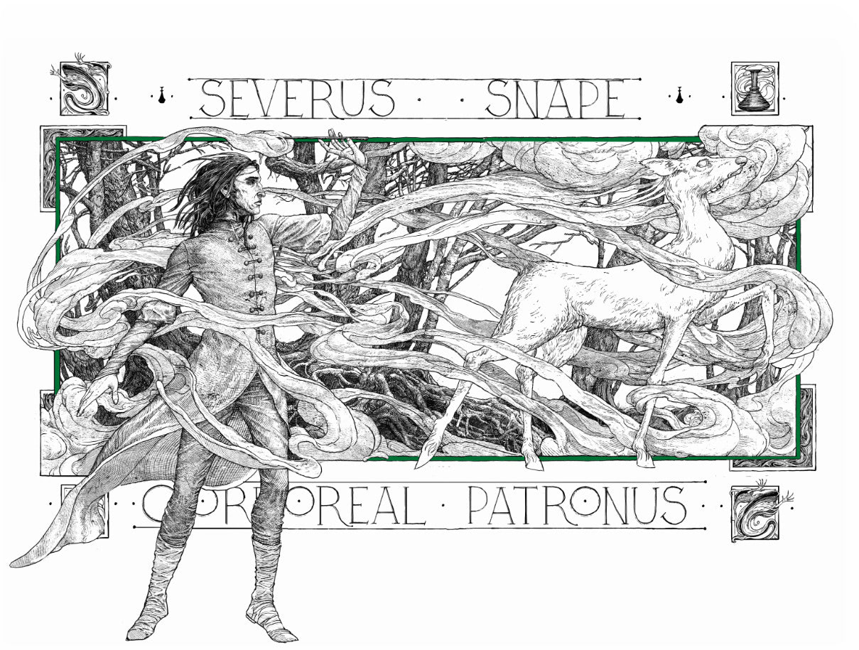 Severus Snape Patronus illustration (house editions)