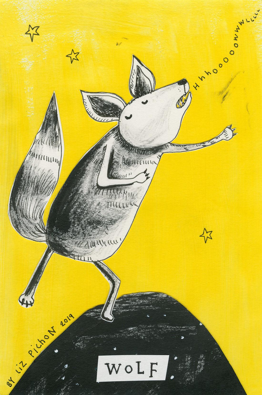 Wolf (Liz Pichon Patronus on a Postcard)