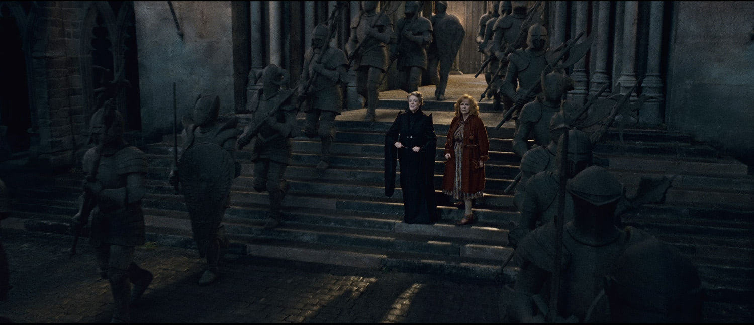McGonagall watches the statues march