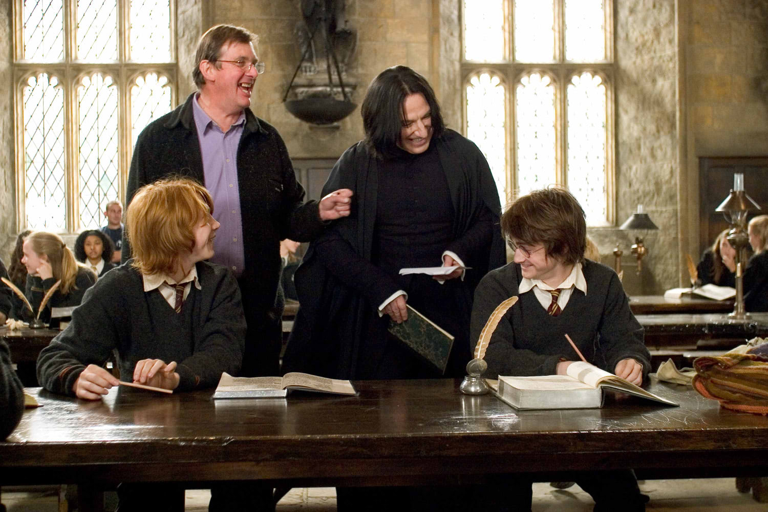 Mike Newell, Alan Rickman, Rupert Grint and Dan Radcliffe