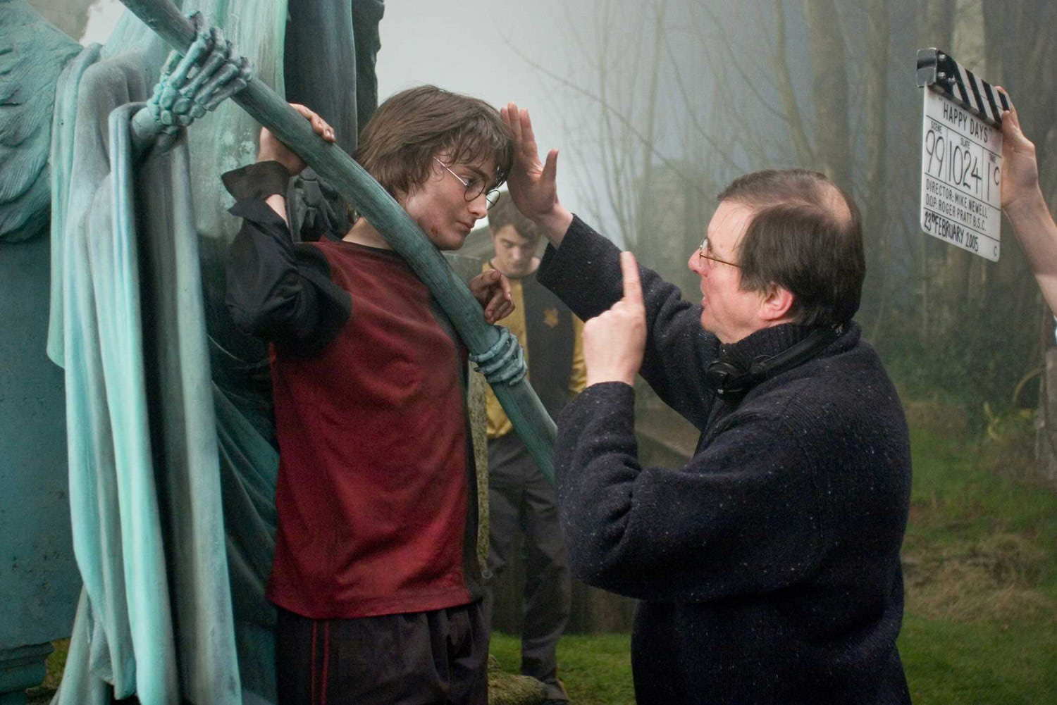Mike Newell and Dan Radcliffe in the graveyard