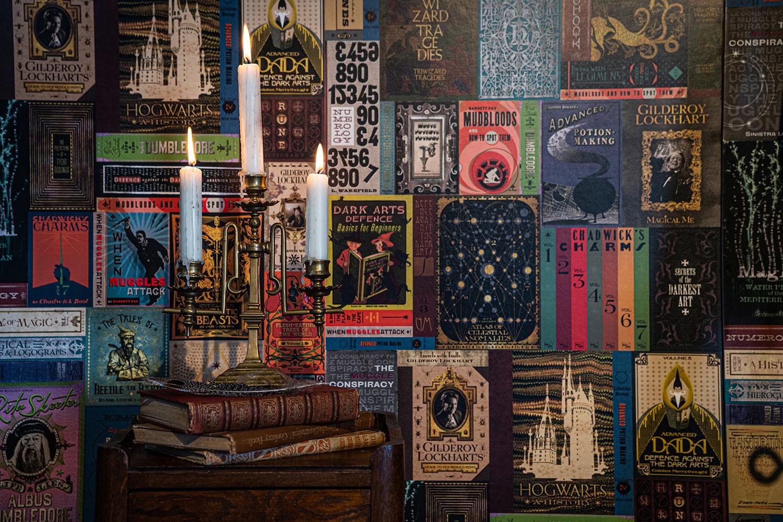MinaLima Hogwarts library books wallpaper