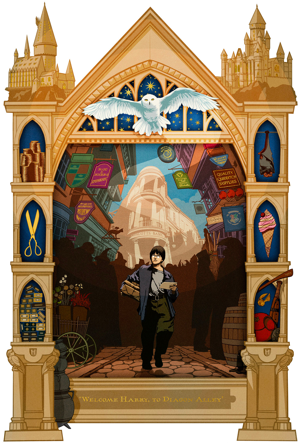 'Welcome Harry, to Diagon Alley' MinaLima print