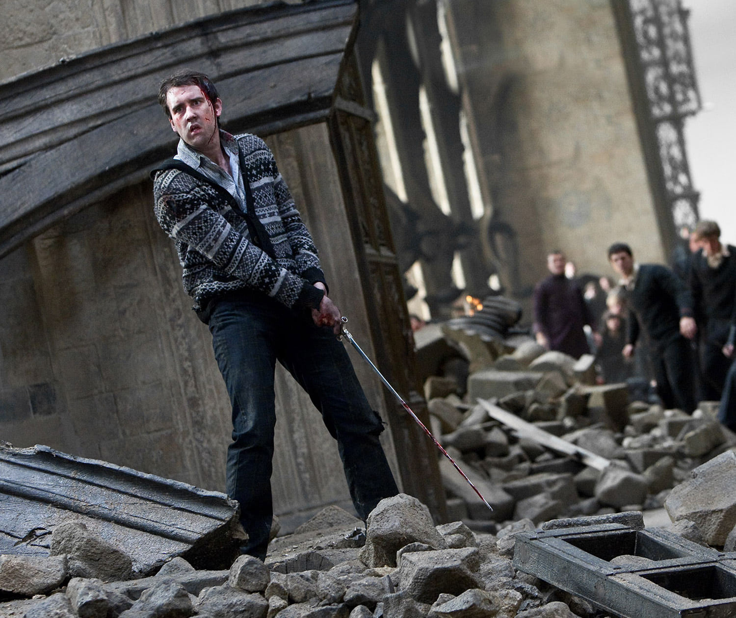 Neville wields the Sword of Gryffindor