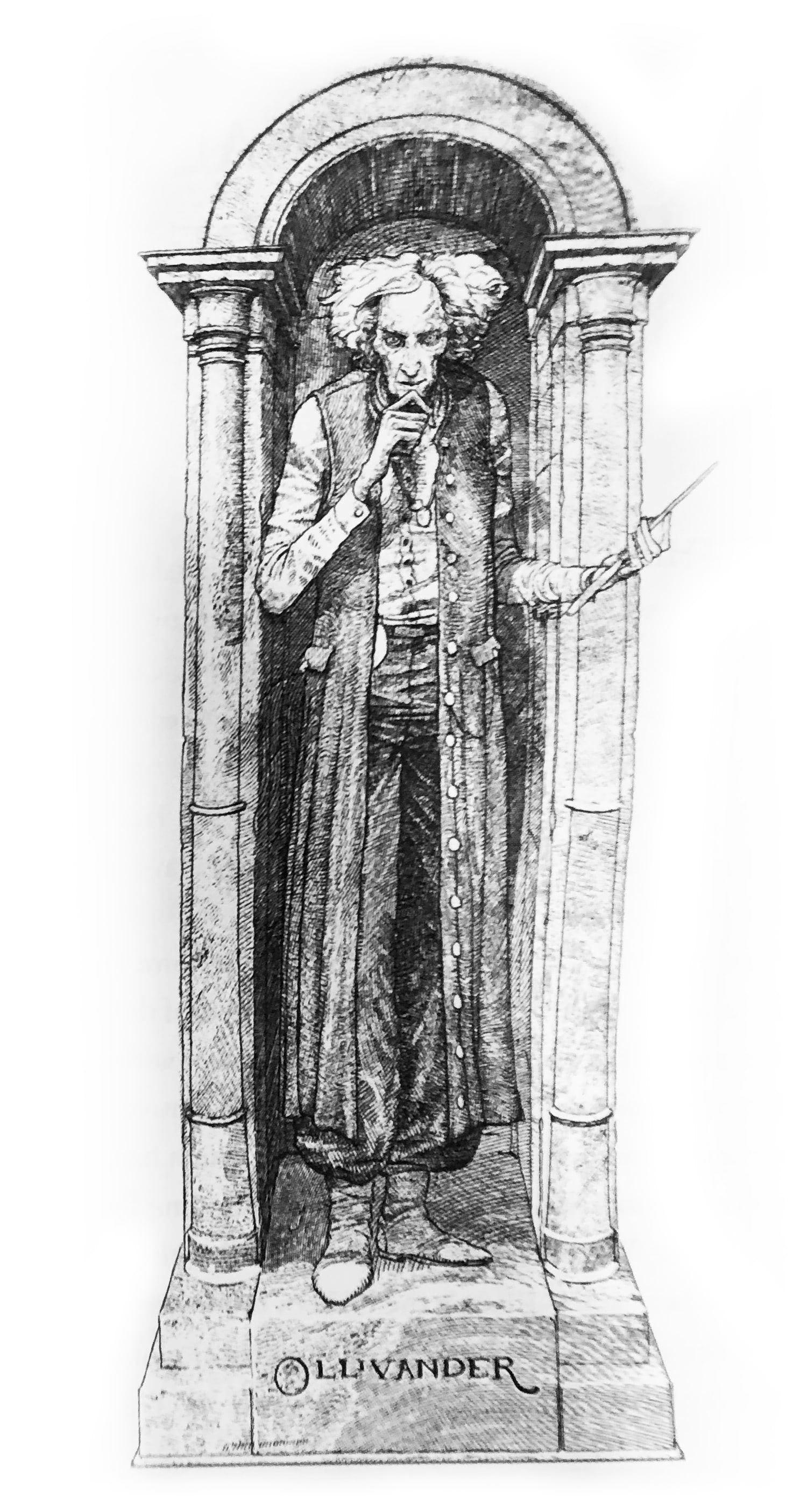 Ollivander illustration (house editions)