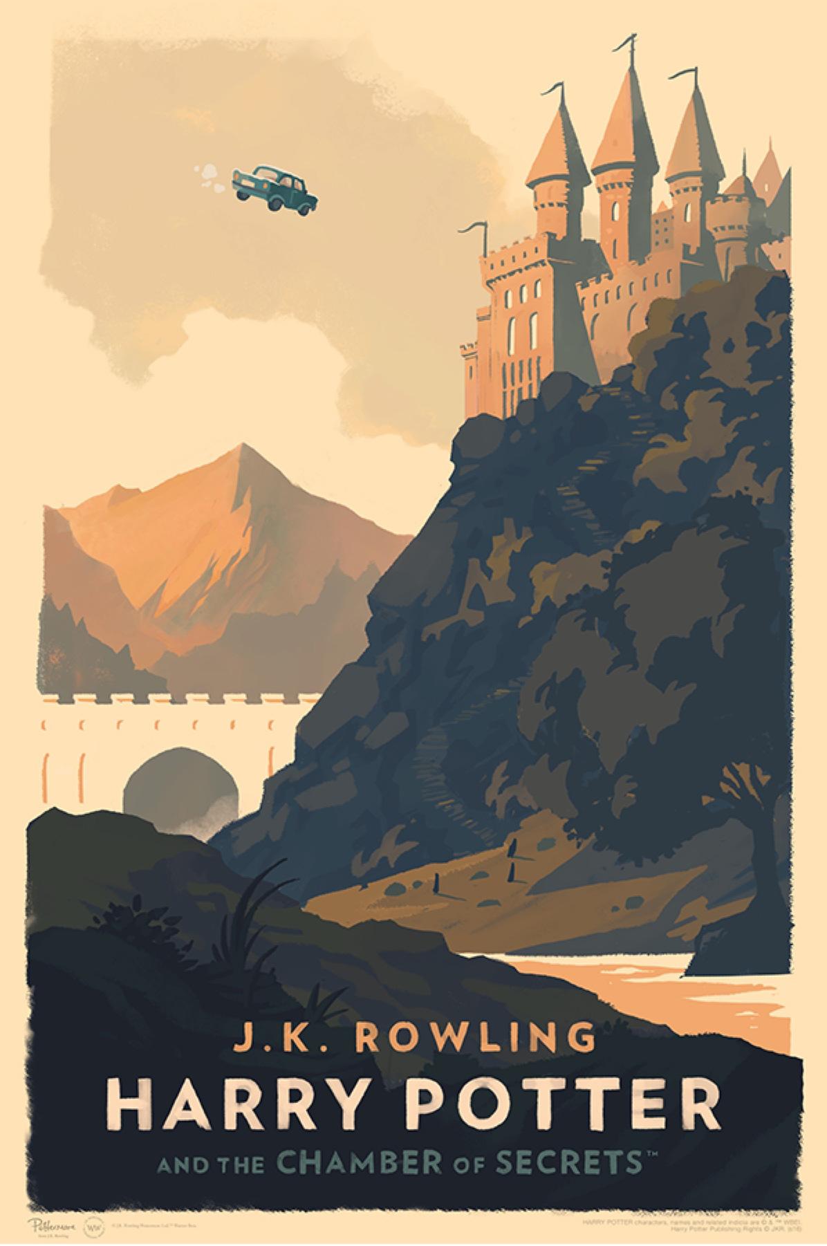 'Chamber of Secrets' Olly Moss Hogwarts poster