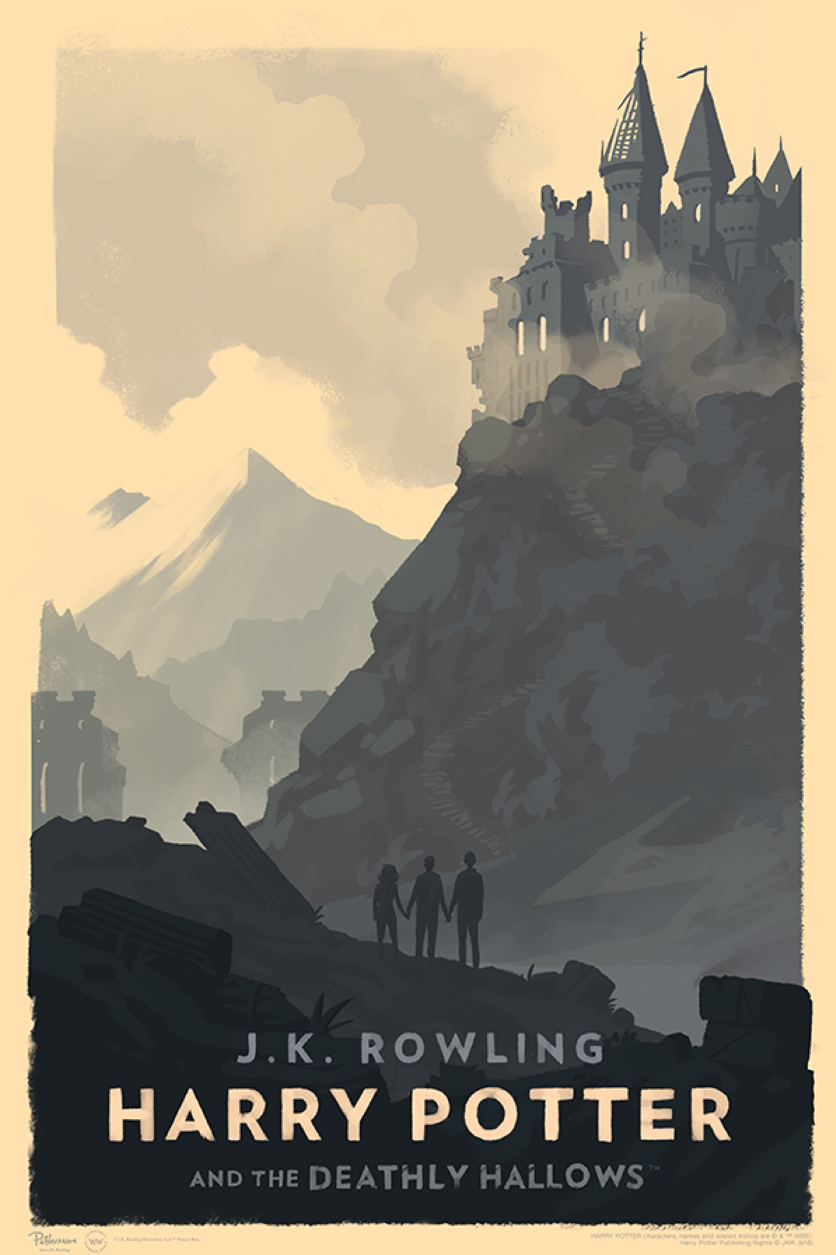 'Deathly Hallows' Olly Moss Hogwarts poster