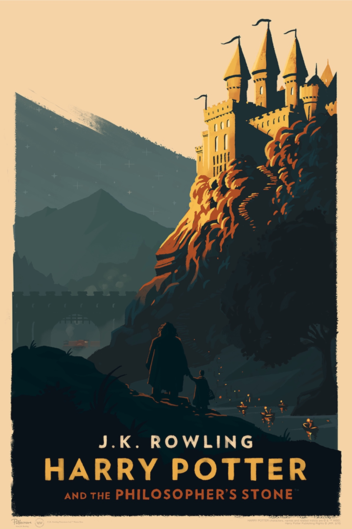 'Philosopher's Stone' Olly Moss Hogwarts poster