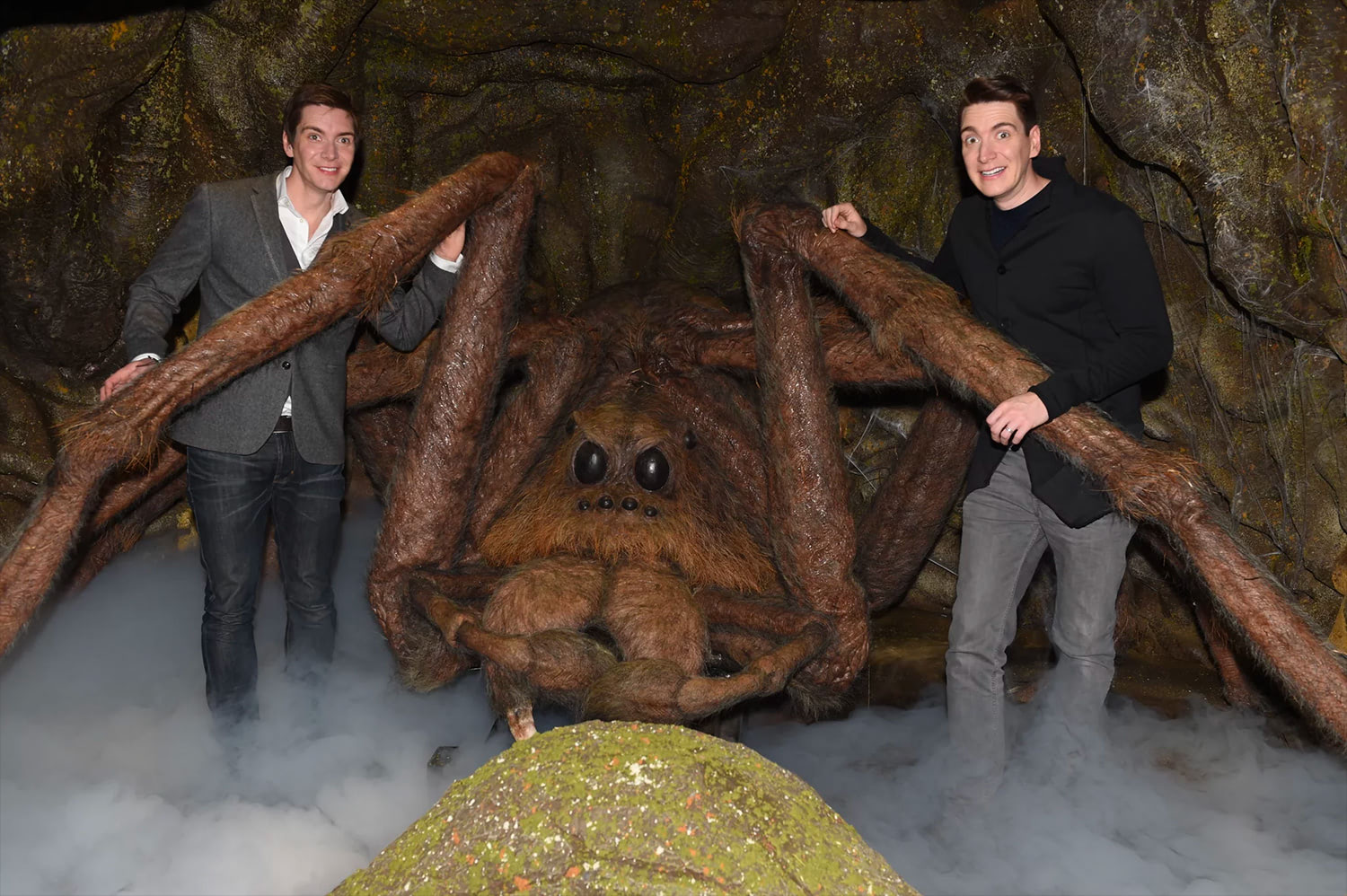 James and Oliver Phelps and Aragog at the Forbidden Forest expansion