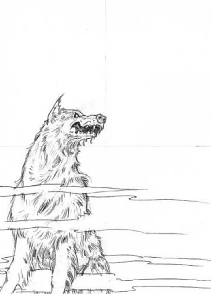 Sirius Black dog (revised draft) (Cliff Wright sketch)