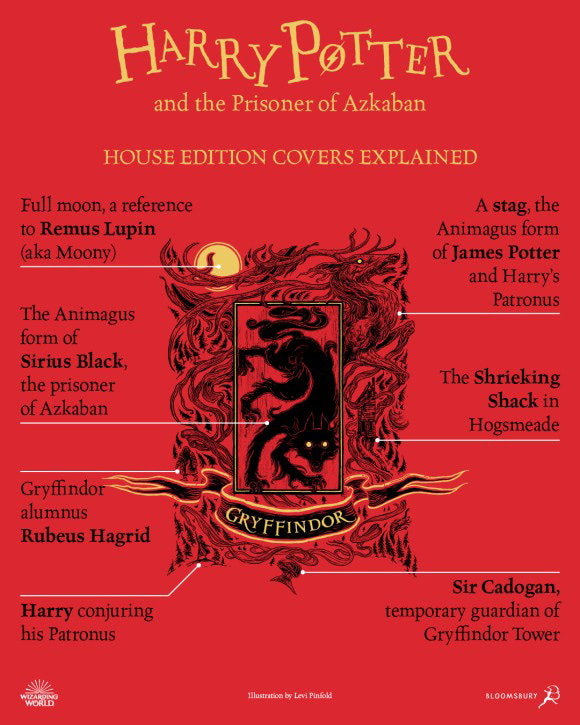 'Prisoner of Azkaban' house edition cover artwork chart (Gryffindor)