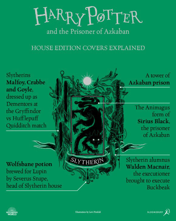 'Prisoner of Azkaban' house edition cover artwork chart (Slytherin)