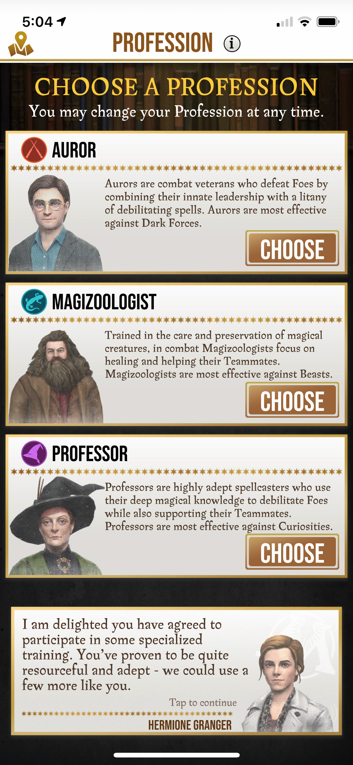 Choose a profession (Wizards Unite)