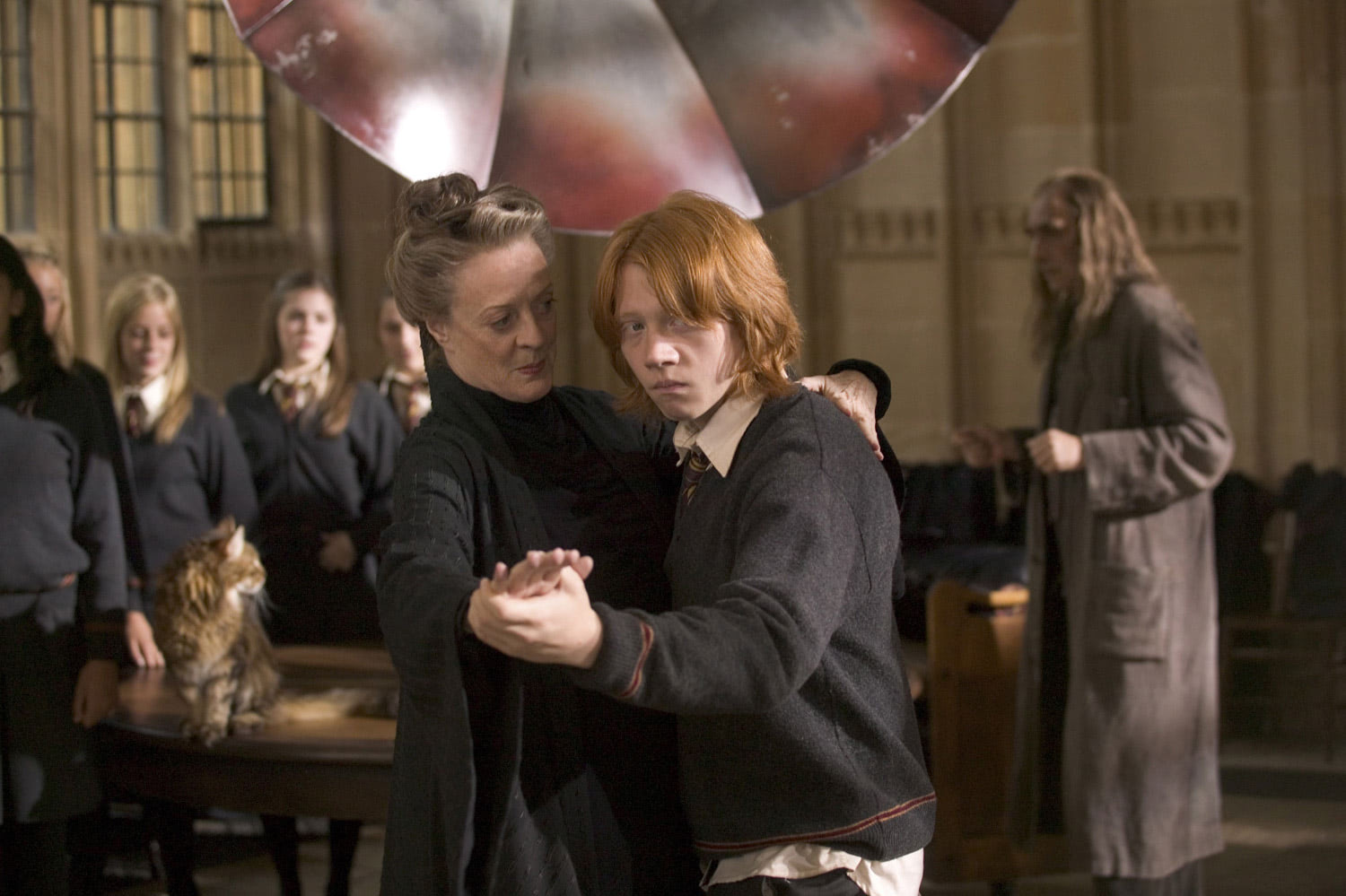 Professor McGonagall and Ron dance