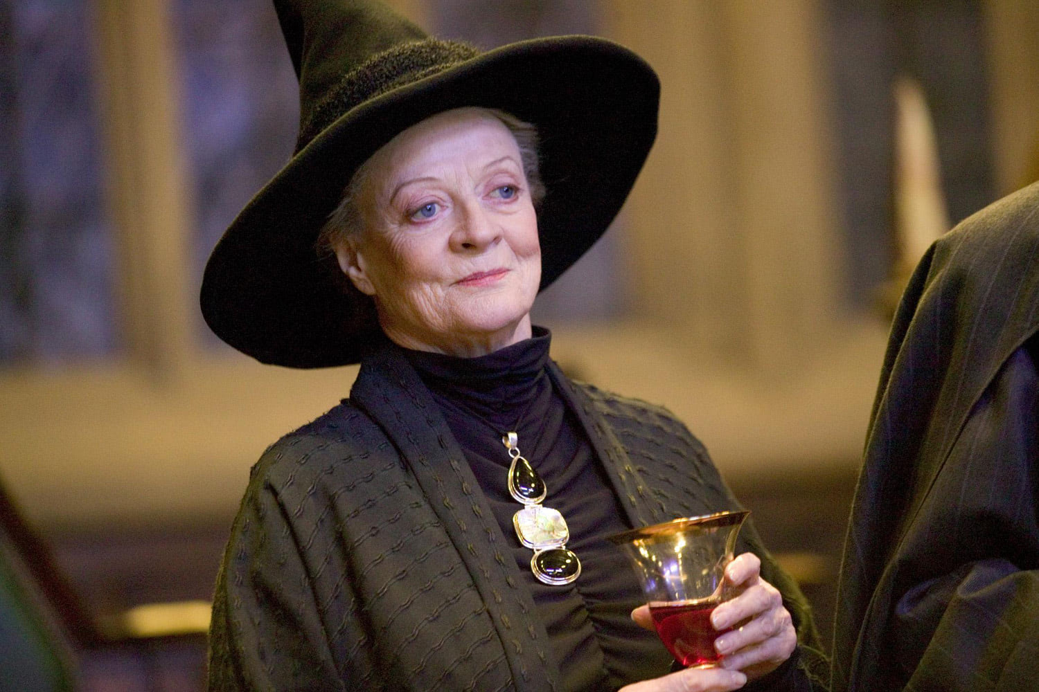 Professor McGonagall enjoys a drink