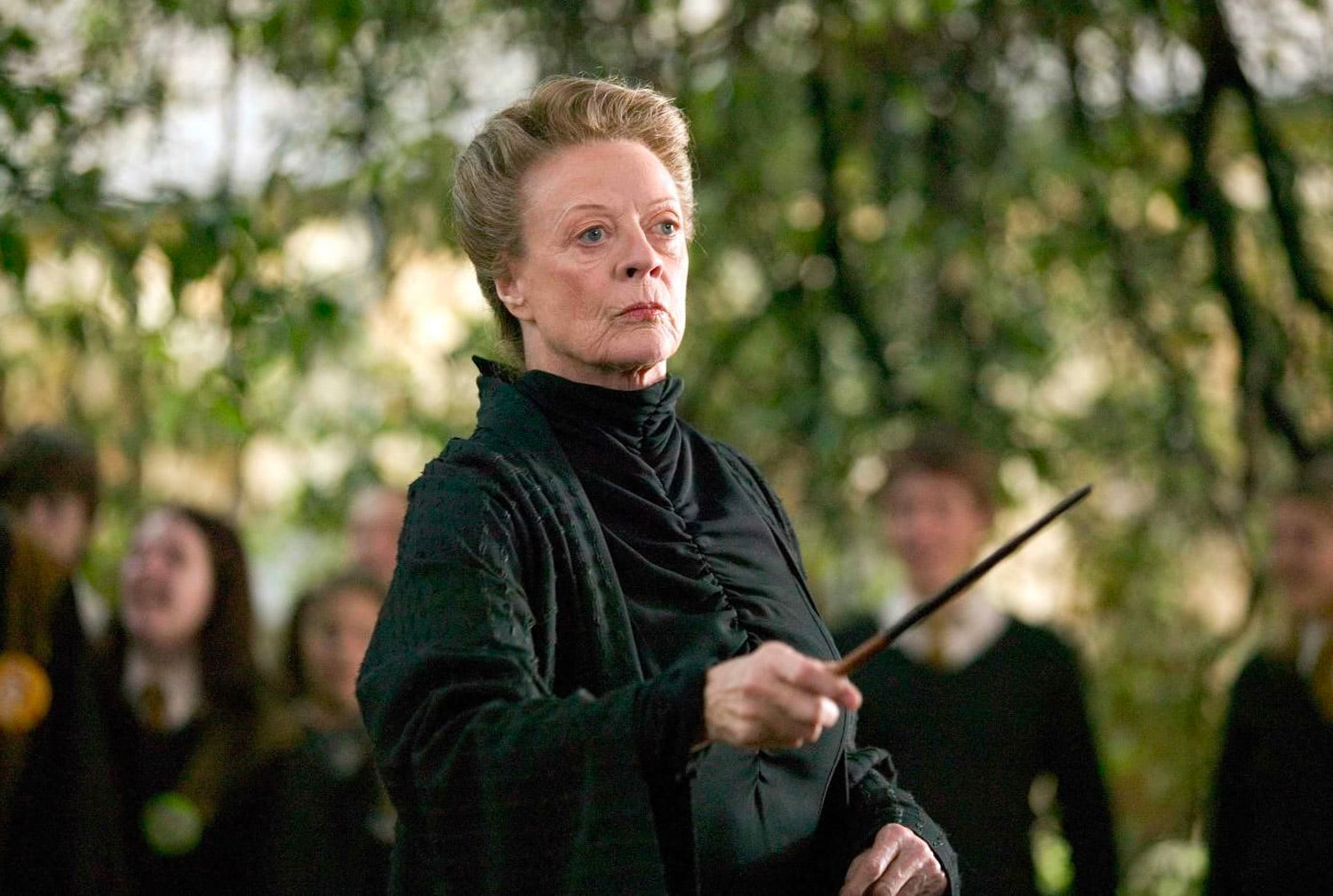 Professor McGonagall with wand at the ready