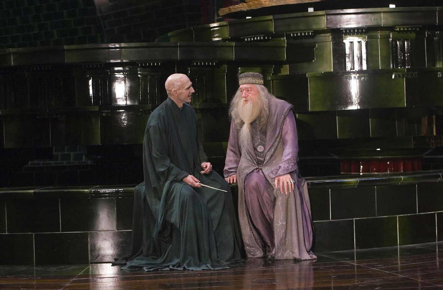 Ralph Fiennes and Michael Gambon in the Ministry of Magic