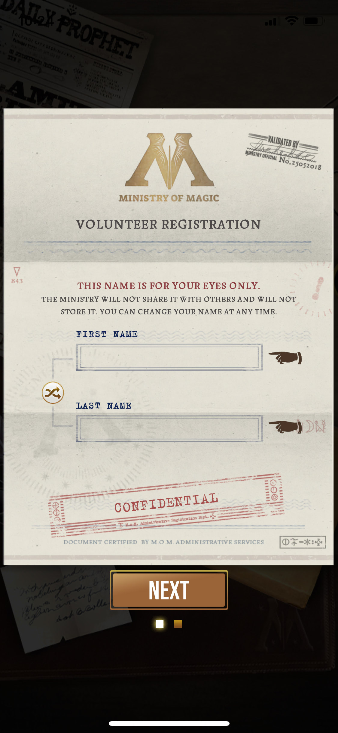 Volunteer registration (Wizards Unite)