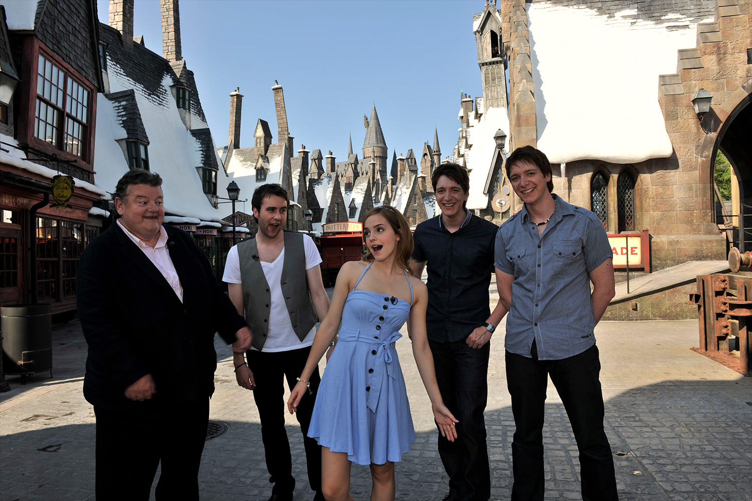 James and Oliver Phelps, Robbie Coltrane, Emma Watson and Matthew Lewis at the 'Harry Potter' theme park