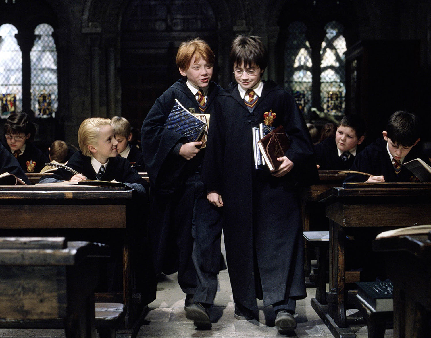 Ron and Harry in class