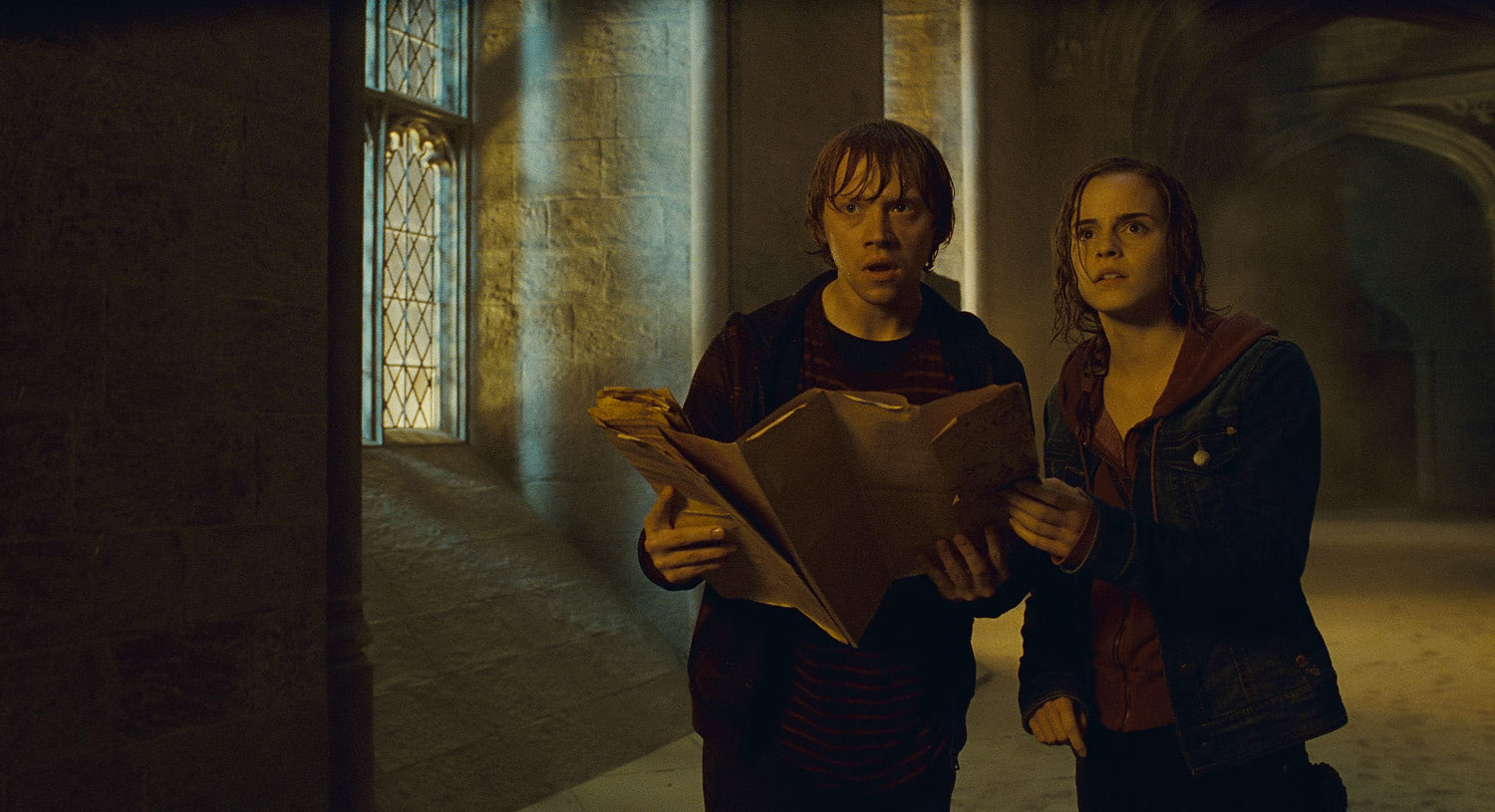 Ron and Hermione with the Marauder's Map
