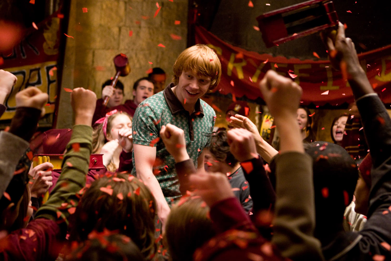 Ron celebrates a Quidditch win