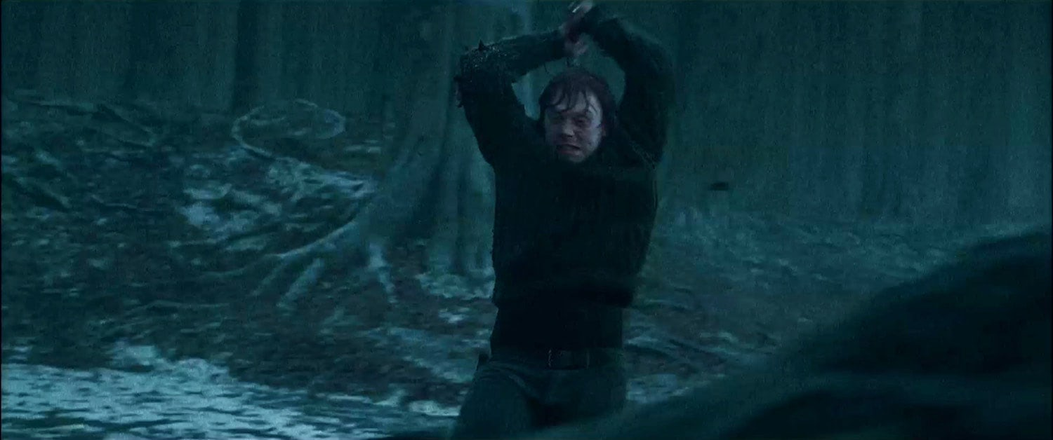 Ron destroys the locket Horcrux