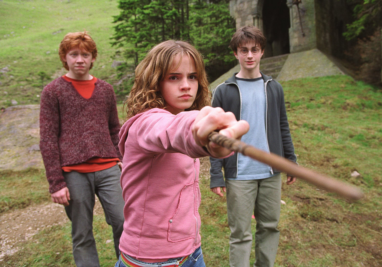 Ron, Hermione and Harry confront Draco