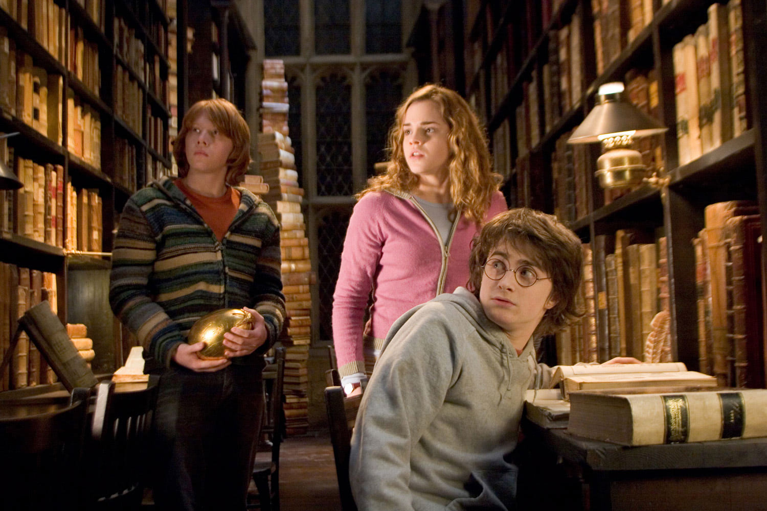 Ron, Hermione, Harry and the golden egg