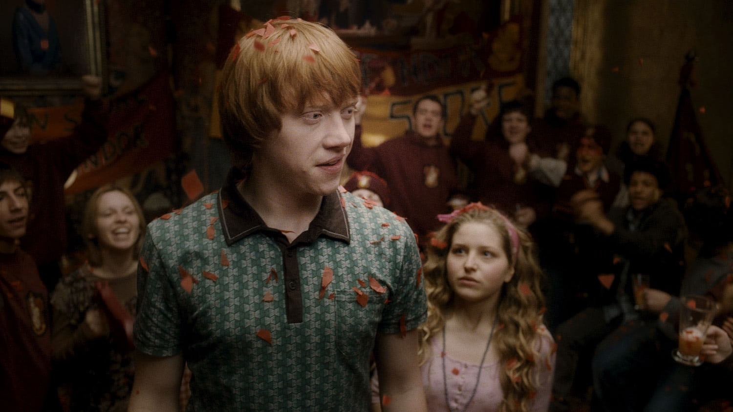 Ron is celebrated in the Gryffindor Common Room