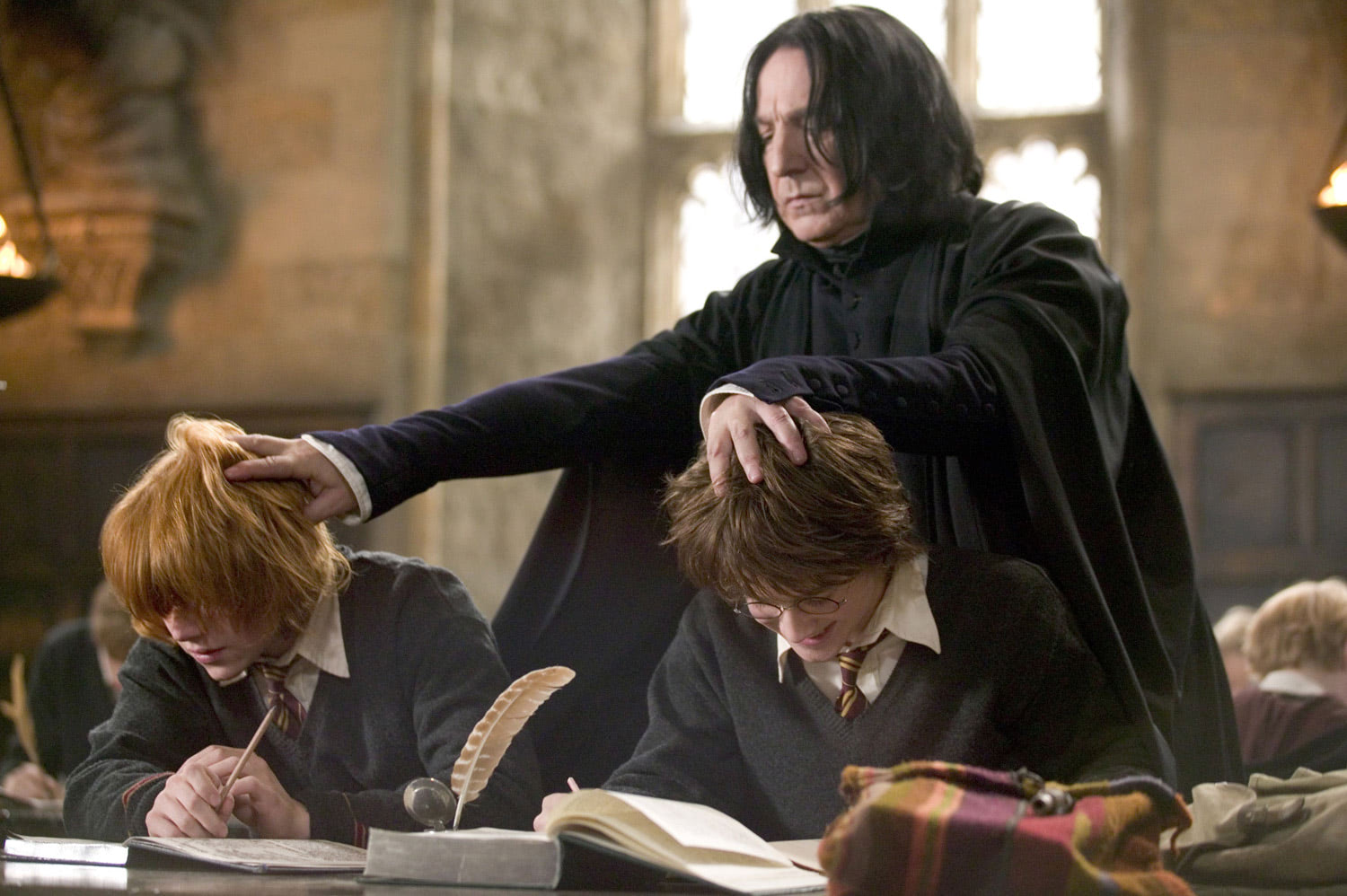 Ron, Harry and Snape in the Great Hall