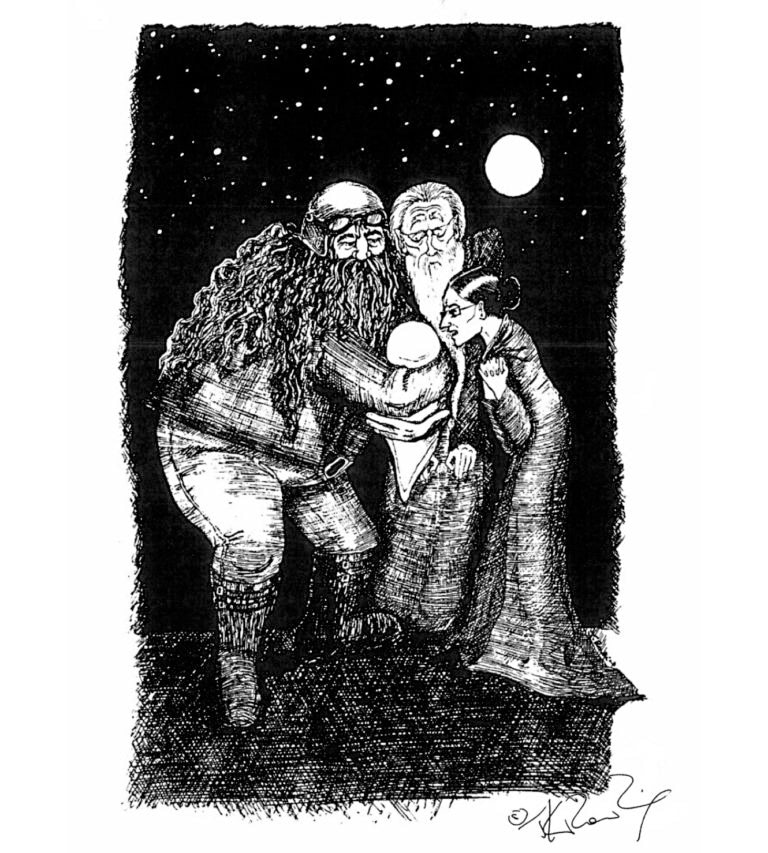 Hagrid, Dumbledore and McGonagall with baby Harry (J.K. Rowling sketch)